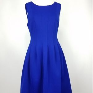 Calvin Klein fit and flare dress in royal blue